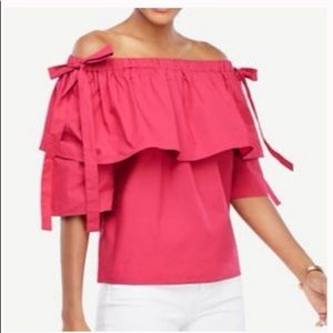 NEW Ann Taylor pink cold-should top